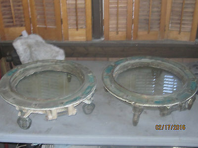 "Pair of Antique Vintage Brass Nautical Portholes 15"" Windows"