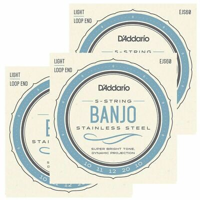 3 Sets D'Addario EJS60 Stainless Steel 5-String Banjo Strings, Light, 9 - 20 X3