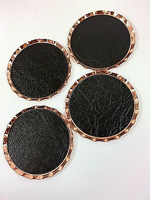 4 Vintage Coppercraft Guild Copper Coasters Lined with Black Leather/Vinyl