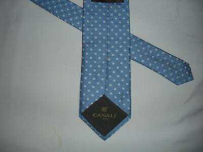CANALI blue polka dot silk neck tie made in italy