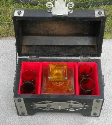 Vintage 1960's Treasure Chest Bar with Amber Glass Decanter and 4 Shot Glasses