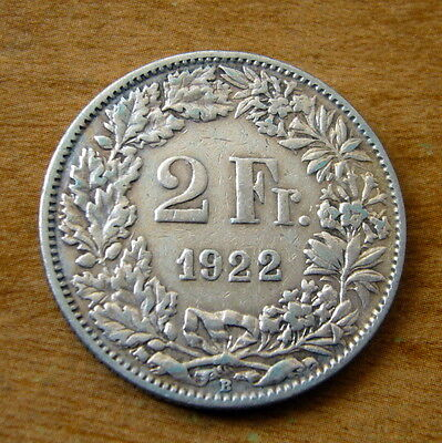 1922 Switzerland Silver 2 Franc Coin