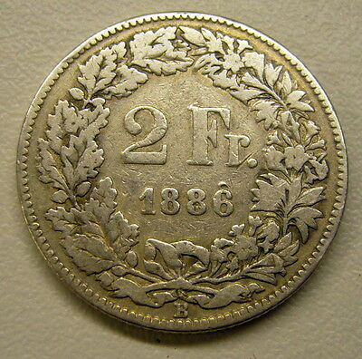 1886 Switzerland Silver 2 Franc Coin    2 available