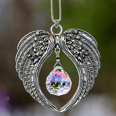 Angel Wings + Aurora Borealis Rainbow Maker Crystal Ball Suncatcher Car Charm