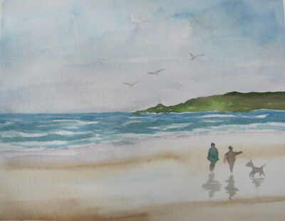 wATERColour BEACH dog GULLS clouds Hand PAINTED art CRAFT BLues HOBBY 24.5x19cm