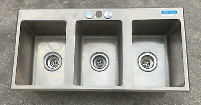 "Stainless Steel Drop In Sink 3 Commercial Three Compartment 10"" x 14"" x 10"" Used"