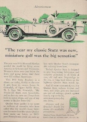 Quaker State Oil Keeps 1930 Stutz Roadster Running Beautifully Vintage Ad 1960