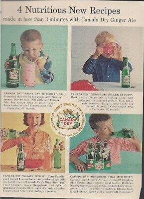 Canada Dry Ginger Ale 4 Nutritious Recipes Vintage Ad 1959