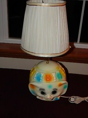 Vintage 1970's Kid's Elephant Lamp - Polka Dots - Multi-Colored Spots - CUTE!