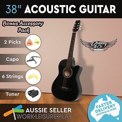 "38"" Inch Wooden Folk Acoustic Guitar Classical String Pick Capo Tuner Strap Bag"