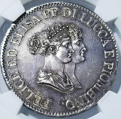 Italy 1805 Lucca and Piombino Silver 5 Franchi AU 55 NGC RARE