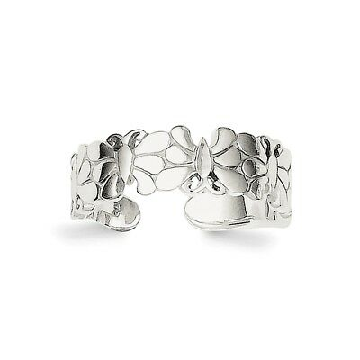 Sterling Silver Polished Butterflies Toe Ring