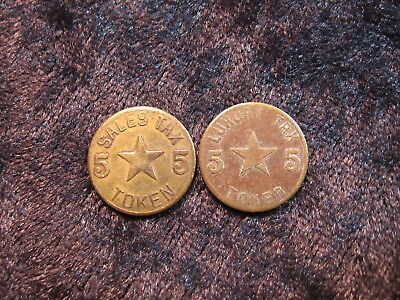2 old sales & luxury tax token coin lot ALABAMA 5 cents 1937 - 1948 FREE S&H