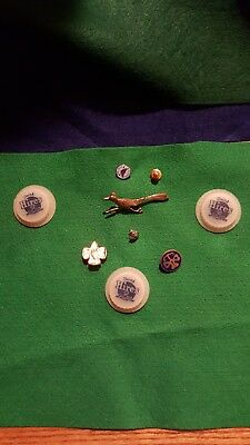 for vintage stick pins and 3 plastic Hires root beer bottle tops