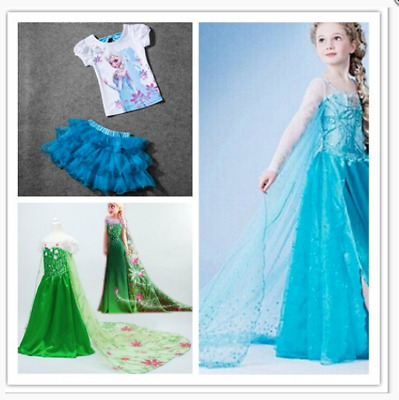 New Style Girl Frozen Princess Queen Elsa Anna Cosplay Costume Party Fancy Dress