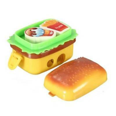Stationery Hamburger Pencil Sharpener with Two Rubbers Eraser Student Kids
