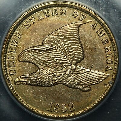 STUNNING - 1858 Flying Eagle Cent UNCIRCULATED - ANACS MS 60 Details - GORGEOUS