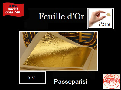 50 feuilles d' or 24 K Carats Veritable Gold Leaf paper sheets