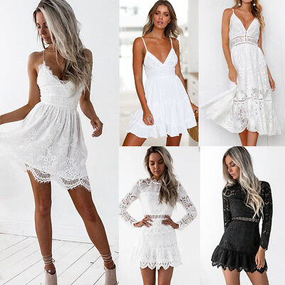UK Sexy Womens Bandage Strappy Lace Evening Party Cocktail Summer Mini Dress