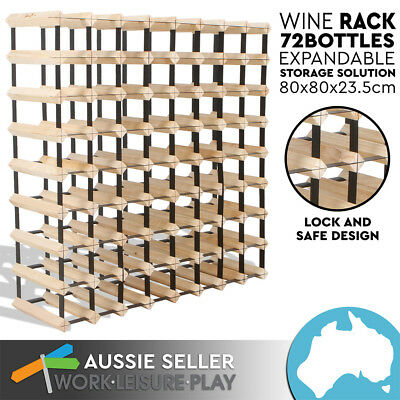 New 72 Bottle Wooden Metal Wine Rack Natural Wood Cellar Organiser PERTH PICK UP