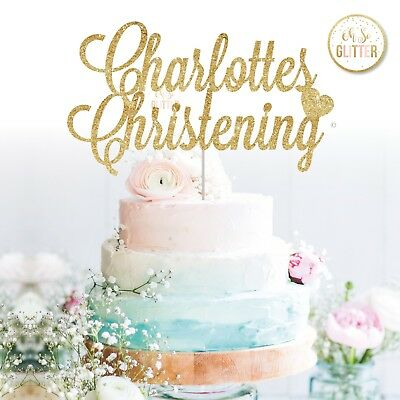 cake topper christening baptism name custom glitter christian custom any name