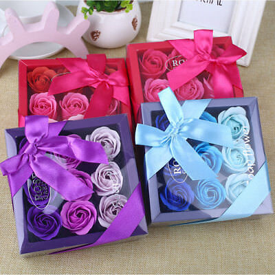 Colorful Valentine'S Day Ornament Artificial Rose 9 Pcs 4 Color Hotel Party