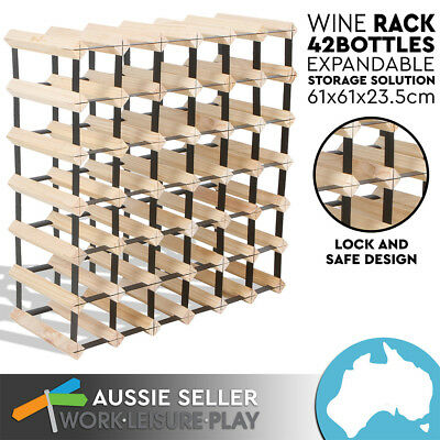 New 42 Bottle Wooden Metal Wine Rack Natural Wood Cellar Organiser PERTH PICK UP