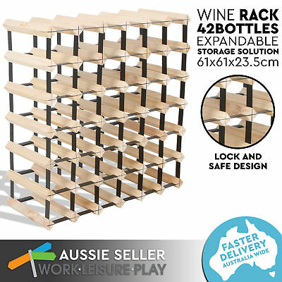 New 42 Bottle Wooden Metal Wine Rack Natural Wood Cellar Organiser Stand FREIGHT