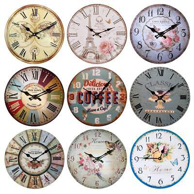 LARGE SHABBY CHIC WALL CLOCK 60CM ANTIQUE VINTAGE STYLE 9 Styles