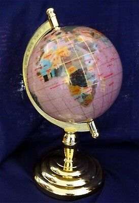 Gemstone World Globe On Gold Stand With Packaging