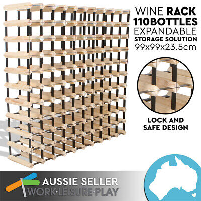 110 Wine Rack Bottle Wooden Metal Natural Wood Cellar Organiser Storage Display