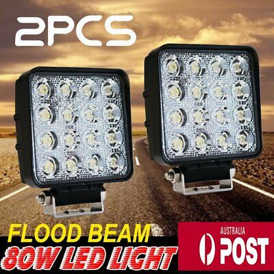 2x Square 80W LED Work Light Flood Lamp Offroad Tractor Truck 4WD SUV 12V 24V OK