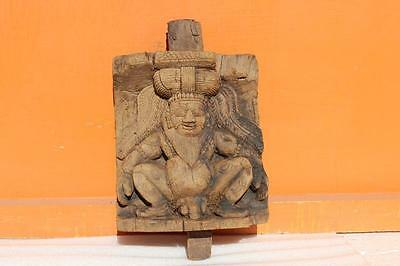 Carved Old Vintage Indian Wooden Sadhu Wall Panel Home Decor Collectible E-48