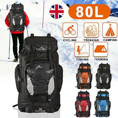 80L Extra Large Nylon Camping Backpack Travel Hiking Rucksack Luggage Bag New