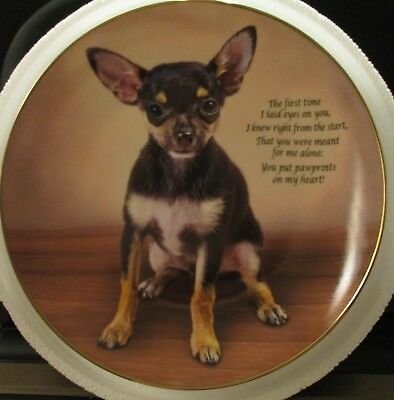 Danbury Mint Pawprints On My Heart Cherished Chihuahuas Plate No E4909