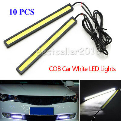 10Pcs 12V Waterproof White DRL LED Strip Light Bars Camping Caravan Boat Car COB