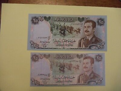 25 Dinar Iraq banknote and Desert Storm Surrender Pass with translation 1990 UNC