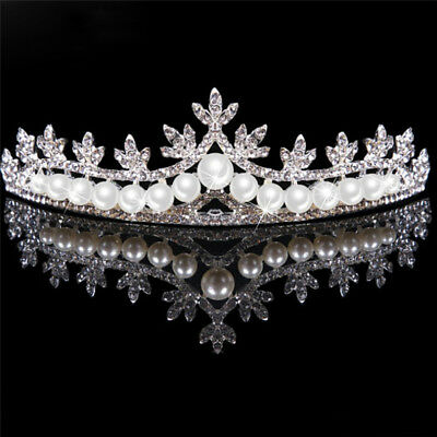Rhinestone Tiara Hair Band Bridal Pearl Princess Prom Crown Headband Wedding YR