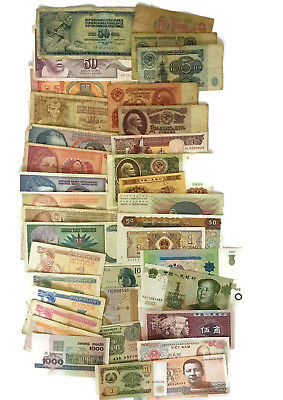 Lot 36 Different Banknotes 15 Countries Old & UNC Foreign Worlwide Rare Currency