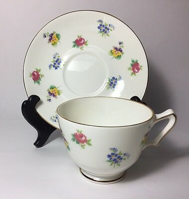 Vintage Crown Staffordshire Fine Bone China Teacup Saucer Floral Preowned