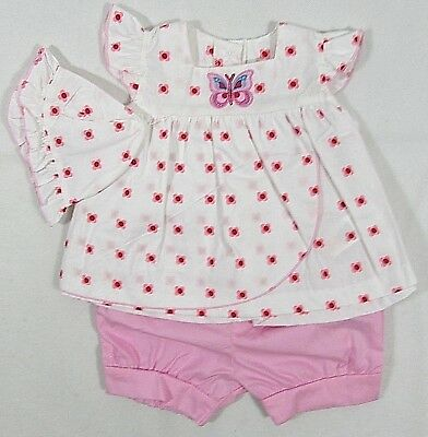 Baby Babies Girls Floral Dress Shorts Bloomers Pink White Hat Summer 0-9 M 1033