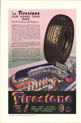 See Firestone Gum Dipped Tires Made Century of Progress Chicago Vintage Ad 1933