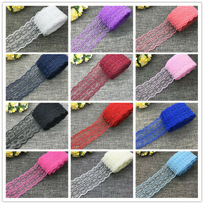NEW 5/10/20yards 45mm bilateral Embroidered Net Lace Ribbon Bow Trim Crafs