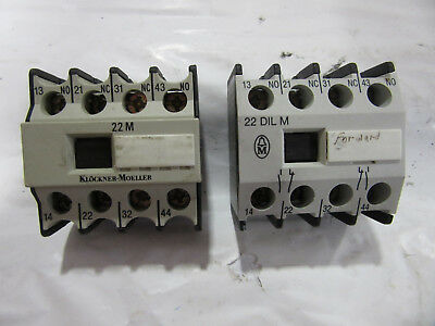 (2) Klockner Moeller 22DILM Auxiliary Contact 16A 600V VGC!!! Free Shipping