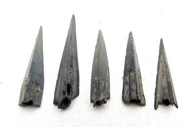 Lot Of 5 Ancient Scythian Bronze Arrow Heads - Ancient Historical Artifacts C165