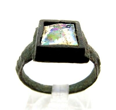 Medieval Bronze Ring W/ Glass In Bezel - Rare Ancient Wearable Artifact - C180