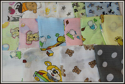 LARGE 70 x 80cm Muslin Squares 100% Cotton Cloths Baby Nappies Pieluchy Tetrowe