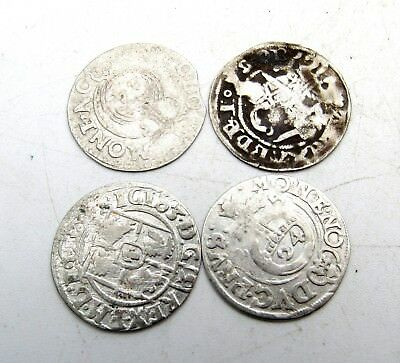 Lot Of 4 Medieval Silver Hammered Coins - Ancient Artifact Stunning - C185