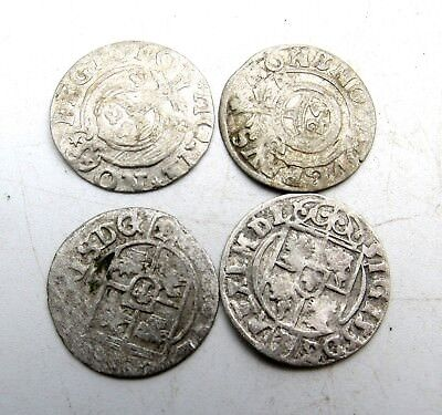 Lot Of 4 Medieval Silver Hammered Coins - Ancient Artifact Stunning - C186