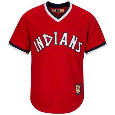 Majestic Cleveland Indians 1974 Cooperstown Cool Base MLB Trikot Rot